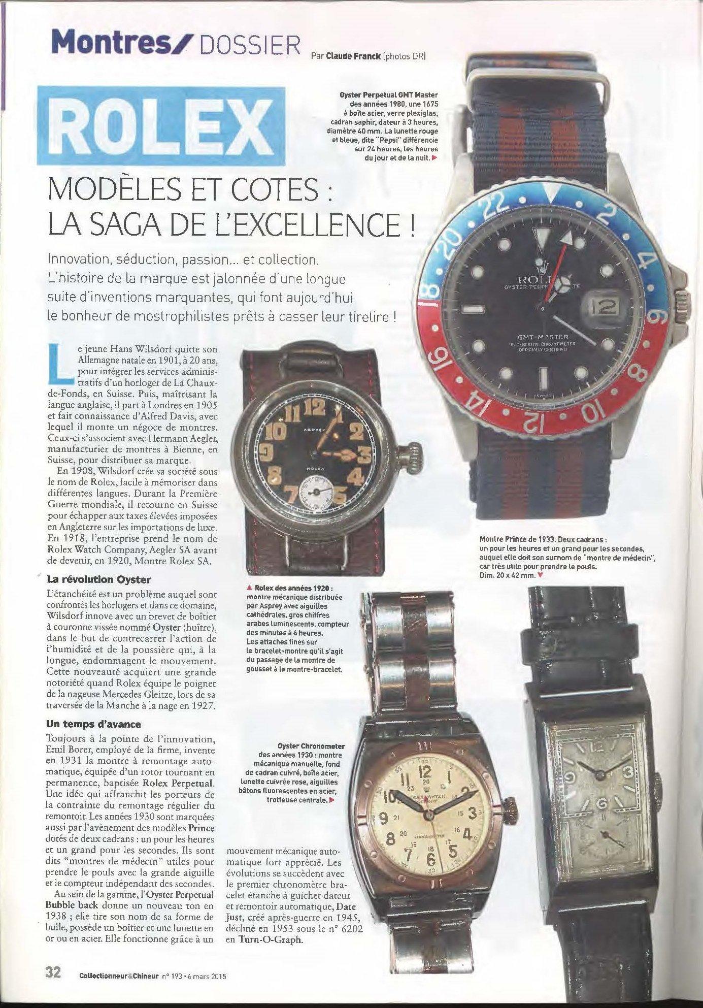 Frans Artikel Over Vintage Rolex Horloges Vintage Horlogeforum